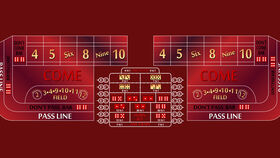 Image of a 10' Burgundy Craps Casino Game Table Kit