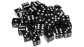 Image of a 16mm Black Rounded Casino Dice