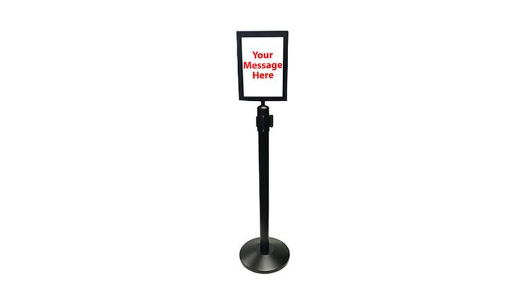 """Picture of a 10"""" x 13"""" Black Retractable Metal Stanchion Vertical Sign Holder"""