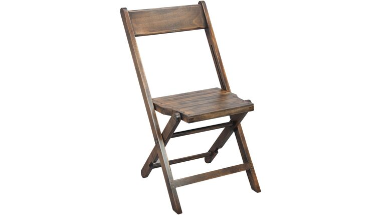 Picture of a Antique Brown Slatted Wood Folding Chair