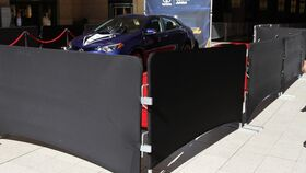 Image of a 8' Black Bike Rack Barricade Spandex Cover