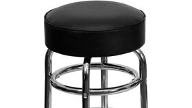 Black Double Ring Leather Barstool With Chrome Legs image