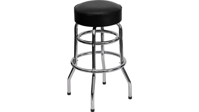 Picture of a Black Double Ring Leather Barstool With Chrome Legs