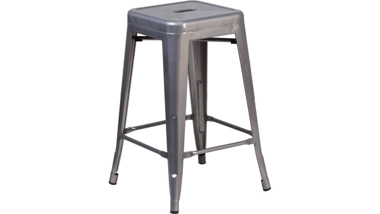 Picture of a 24'' High Backless Clear Coated Metal Indoor Counter Height Stool with Square Seat