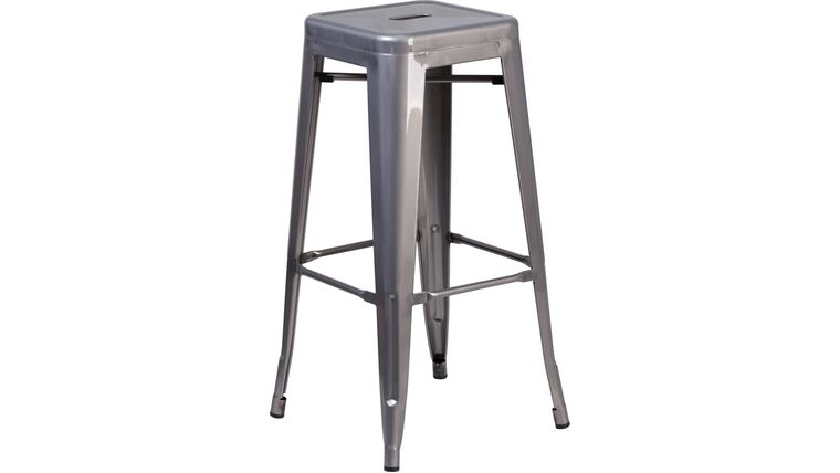 Picture of a 30'' High Backless Clear Coated Metal Indoor Counter Height Stool with Square Seat