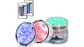 Image of a Novelty Place Submersible Led Light Multicolor Waterproof Underwater Remote Controlled Lighting - Decoration for Pool, Centerpiece, Wedding and Party - 10 LEDs, 16 Colors and 4 Modes