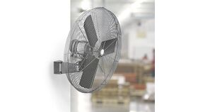 "Image of a 24"" Commercial Hanging Oscillating Fan w/15"" Stainless Steel 8 Nozzle Misting Ring Kit"