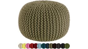 """Image of a 20"""" Beige Hand Knitted Cable Style Dori Pouf - Floor Ottoman"""