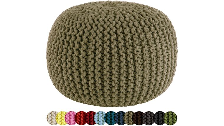 "Picture of a 20"" Beige Hand Knitted Cable Style Dori Pouf - Floor Ottoman"