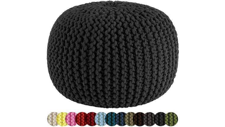"Picture of a 20"" Black Hand Knitted Cable Style Dori Pouf - Floor Ottoman"