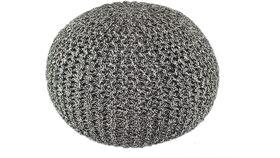 Image of a Charcoal Black Hand Knitted Cable Style Dori Pouf - Floor Ottoman