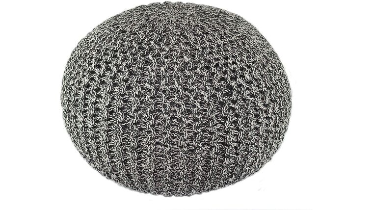 """Picture of a 20"""" Charcoal Black Hand Knitted Cable Style Dori Pouf - Floor Ottoman"""