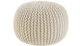 """Image of a 20"""" Ivory Hand Knitted Cable Style Dori Pouf - Floor Ottoman"""