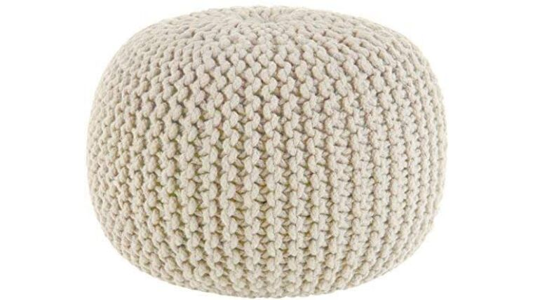 """Picture of a 20"""" Ivory Hand Knitted Cable Style Dori Pouf - Floor Ottoman"""