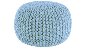 "Image of a 20"" Light Blue Hand Knitted Cable Style Dori Pouf - Floor Ottoman"
