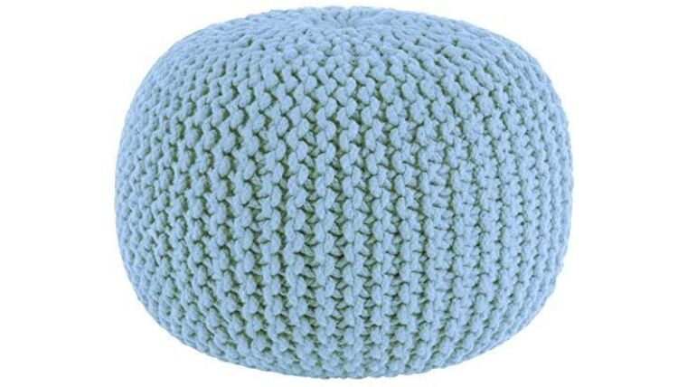 """Picture of a 20"""" Light Blue Hand Knitted Cable Style Dori Pouf - Floor Ottoman"""