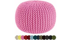 """Image of a 20"""" Pink Hand Knitted Cable Style Dori Pouf - Floor Ottoman"""
