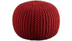 """Image of a 20"""" Red Hand Knitted Cable Style Dori Pouf - Floor Ottoman"""