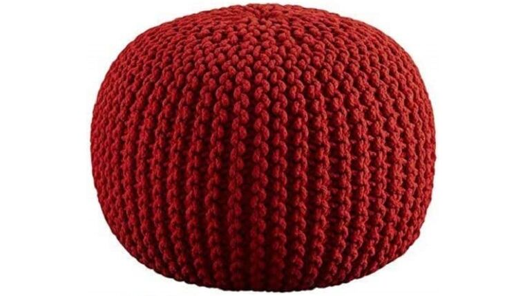 """Picture of a 20"""" Red Hand Knitted Cable Style Dori Pouf - Floor Ottoman"""