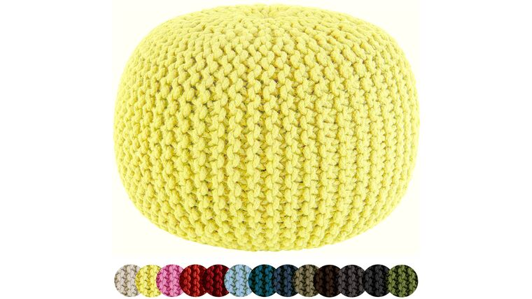 """Picture of a 20"""" Yellow Hand Knitted Cable Style Dori Pouf - Floor Ottoman"""