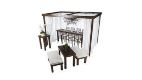 Image of a 12'l x 12'w x 8'h Rustic Wood Cabana w/Sheer Drapes