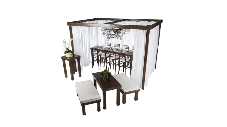 Picture of a 12'l x 12'w x 8'h Rustic Wood Cabana w/Sheer Drapes