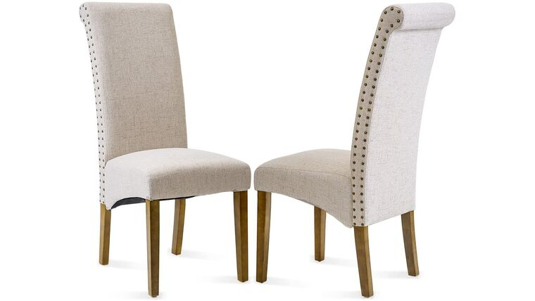 Picture of a Beige Fabric Padded Side Chair with Solid Wood Legs, Nailed Trim
