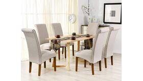 Beige Fabric Padded Side Chair with Solid Wood Legs, Nailed Trim image