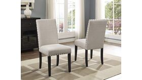 Biony Tan Fabric Dining Chairs with Nailhead Trim image