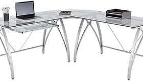 "Image of a Realspace® Vista Glass 76""W L-Shaped Desk, Silver"