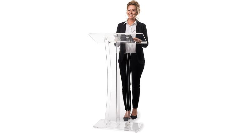 Picture of a Clear Acrylic Stand Up Floor-Standing Podium, Lectern