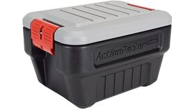 Image of a 8 Gallon Grey & Black Rubbermaid ActionPacker Lockable Storage Box