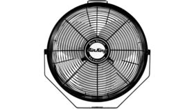 "Image of a 12"" Air King Commercial 3-Speed Hanging Fan With 8 Nozzle Stainless Steel Misting Ring Package"