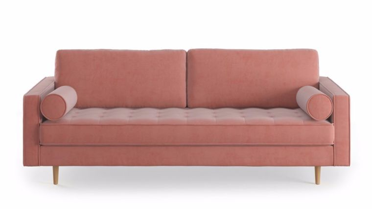 """Picture of a 88"""" Dusty Rose Elle Velvet Fabric Sofa"""
