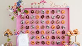 Image of a 4' x 4' Pink Wood Donut Wall