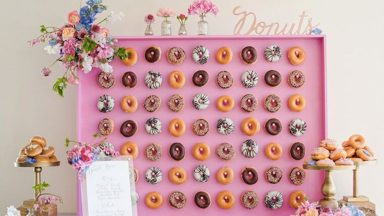 Picture of a 4' x 4' Pink Wood Donut Wall