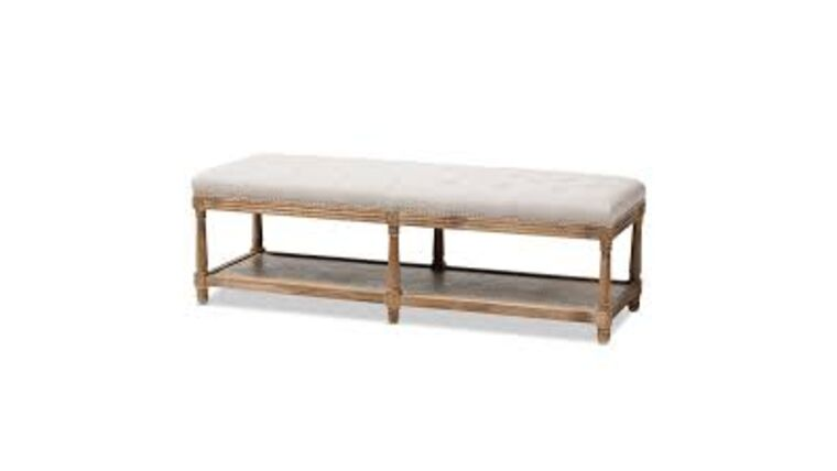 Picture of a Baxton Studio Celeste Button Tufted Bedroom Bench in Beige and Oak
