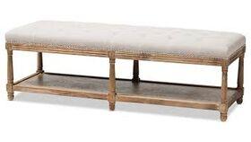 Baxton Studio Celeste Button Tufted Bedroom Bench in Beige and Oak image