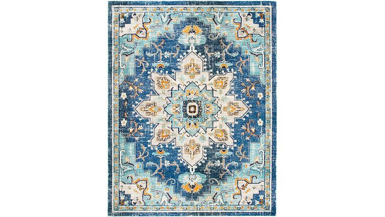 Picture of a 10' x 14' Boho Chic Vintage Distressed Medallion Area Rug, Blue/Light Blue