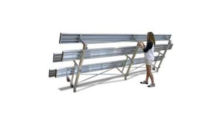 Picture of a 21' - 3 Row Tip N Roll Portable Aluminum Bleacher