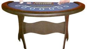 Image of a 6' Blue Blackjack Casino Game Table Kit Rental