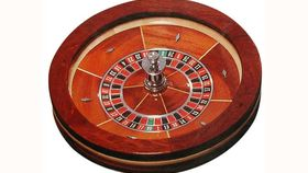 """Image of a 19.5"""" Wood Roulette Casino Wheel Rental"""