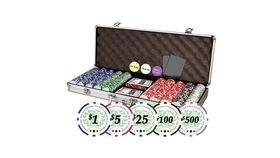 Image of a 500 Da Vinci Professional Denominated Casino Clay Poker Chips With Case Rental