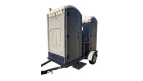 Image of a 2 Stall Basic Portable Restroom Trailer Unit Rental