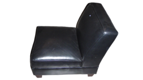 Image of a 3' x 3 Black Leather Sofa