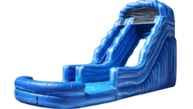 Image of a 14ft Blue Inflatable Wave Water Slide