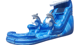 Image of a 18' Dolphin Splash Inflatable Water Slide