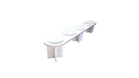 Image of a Catwalk Bench - White With White Seat Pads Rental