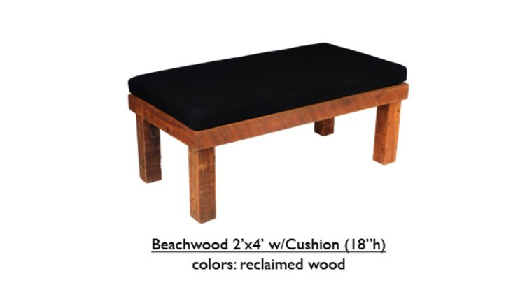 Picture of a Black Beechwood Bench w/Cushion