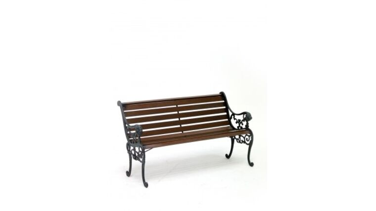 Picture of a 4' Dark Wood Traditional Cast Iron Park Bench Rental
